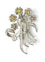 Diamond floral spray brooch
