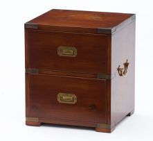 A small mahogany brass-bound chest, modern