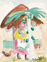 Maggie Laubser; Pawpaw Tree, Woman and Hut