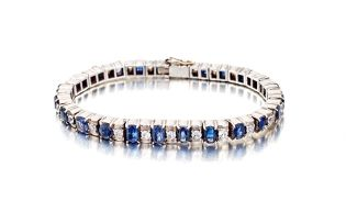 Sapphire and white stone line bracelet