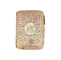 An Edward VII 9ct gold cigarette case, Samuel M Levi, Birmingham, 1906
