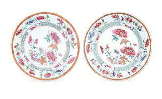A pair of Chinese famille-rose plates, Qing Dynasty, Qianlong (1735-1796)