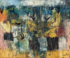 Gordon Vorster; Reed Pool with Birds in Flight