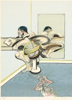 Francis Bacon; Figure Writing Reflected in Mirror