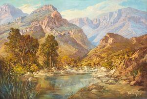 Gabriel de Jongh; Mountain Landscape with Pool