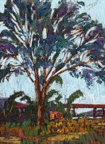 Clément Sénèque; Tree and Distant Railway Bridge
