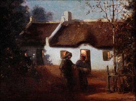 Hugo Naudé; Figures Outside a Cape Cottage at Night