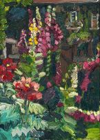 George Rowlett; Opium Poppies, Foxgloves, Sparrows Feeding in the Background