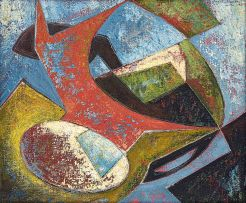 Eugene Labuschagne; Abstract with an Ostrich Egg in a Swazi Bowl