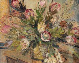 Alice Tennant; Still Life with Proteas (recto); Three Fauns (verso)