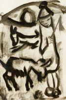 Frans Claerhout; Basotho Rider and Donkeys