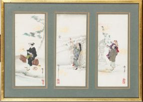 A set of nine Japanese appliqué and painted panels, late Meiji Period (1868-1912)