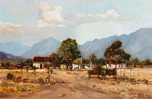 Andre de Beer; Rural Village with Mountains Beyond
