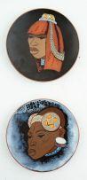 The Kalahari Ceramic Studio; Ndebele Women, a pair of plates