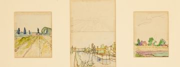 Maggie Laubser; Landscape with Ploughed Field and Trees; Suburban Scene: Barge on Canal and Landscape with Ploughed Field, Houses; Trees