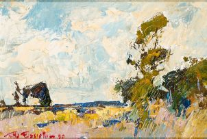 Titta Fasciotti; Landscape with Foreground Trees