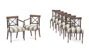 A set of eight George III mahogany dining chairs, 19th century and later