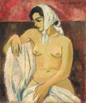 Maurice van Essche; Female Nude with Headscarf