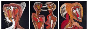 Cecil Skotnes; Four Heads, triptych