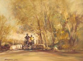 Christiaan Nice; Figures on a Donkey Cart