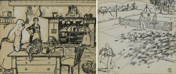 Florence Zerffi and Strat Caldecott; The Kitchen; and The Tennis Match
