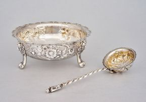 A cased Victorian silver sugar bowl and sifter, Robert Harper, London, 1878, retailed by Page, Keen & Page, Plymouth