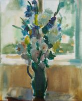Clement Serneels; Still Life with Flowers in a Green Jug