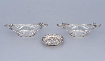 A pair of German silver bon bon dishes, JW Paulmann & Sohn, Bremen, late 19th/early 20th century