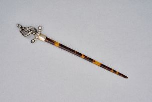 A Continental tortoiseshell and diamanté letter opener, .900 standard