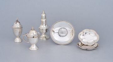 A set of four German silver bon bon dishes, .800 standard