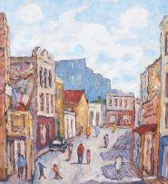 Kenneth Baker; A Busy Street, District Six, Cape Town, recto; Still Life, verso