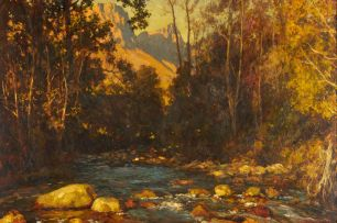 Edward Roworth; Trout Stream and Autumn Woods, Jonkers Hoek, Stellenbosch