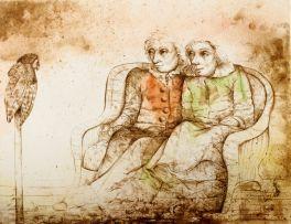 Karin Jaroszynska; Two Figures and Owl II
