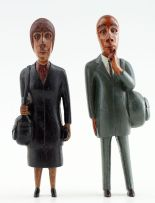 Mashego Johannes Segogela; Couple IX: Man in Green Suit with Bag and Woman in Black Suit with Bag