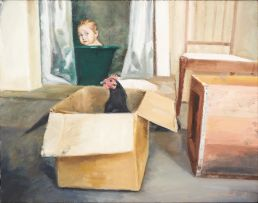 Clare Menck; Bathroom Interior with Baby and Hen I