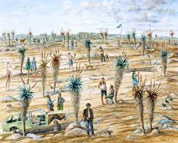 Carl Becker; Landscape with Figures, Aloes and a Car Wreck