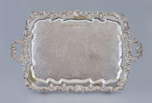A Victorian silver-plate two-handled tray