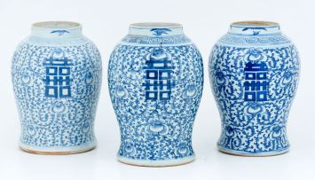 A near pair of Chinese blue and white jars, 19th century
