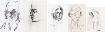 Carl Büchner; Five Monochromatic Portraits