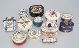 A miscellaneous group of seven porcelain and enamel Halcyon Days boxes, modern