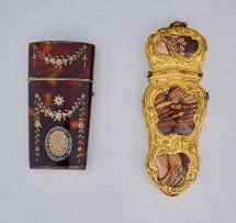 A Continental gilt metal-mounted agate etui, early 19th century