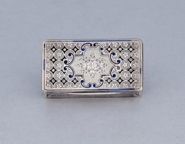 A French silver and enamel snuff box, maker's mark worn, post 1838, .950 standard