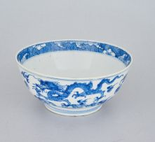 A Chinese blue and white bowl, Qing Dynasty, 19th century