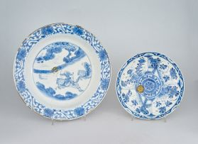 A Chinese blue and white dish, Qing Dynasty, Kangxi (1662-1722)