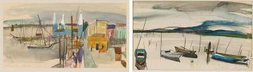 Christine von Huetz-Davisson; Boats in a Bay; Yachts at a Harbour, two
