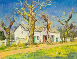 Gregoire Boonzaier; Cape Farmhouse with Children and Chickens