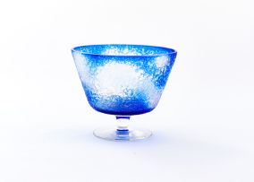A mottle-blue and frosted pedestal bowl