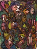 Malangatana Valente Ngwenya; A Crowd, recto; Nude, verso