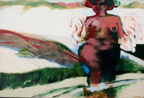 Jan Neethling; Maiden Strolling Through Landscape
