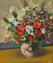 Pranas Domsaitis; Still Life with Spring Flowers